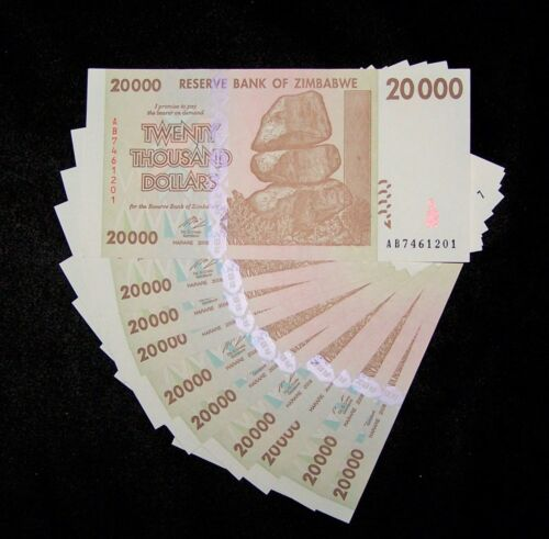 10 x Zimbabwe 20,000 (20000) dollars/aUNC & consecutive currency