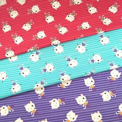 Winking Diva Kitty Cats On Candy Stripe Lines 100/% Cotton Fabric 150cm Wide