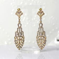 Boucles d`Oreilles Clous Doré Lace Fin Great Gatsby Art Deco Retro Mariage XX 10