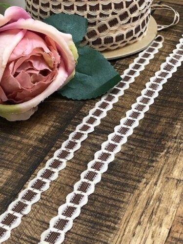 Laverslace Café y Crema Imitación De Cinta De Algodón Vintage Ribete De Encaje 1 cm coser