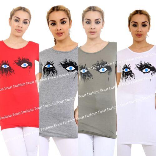 Femmes Mesdames Cils Imprimer T-shirt à manches courtes Fashion Tee Top 8-24