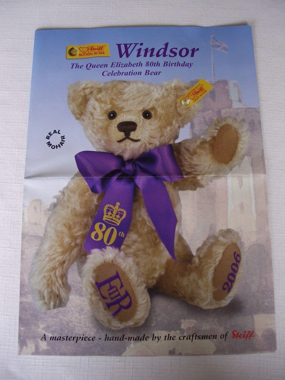 STEIFF WINDSOR BEAR – THE QUEEN ELIZABETH ELIZABETH ELIZABETH 80TH BIRTHDAY CELEBRATION BEAR - 2006 9a7a90