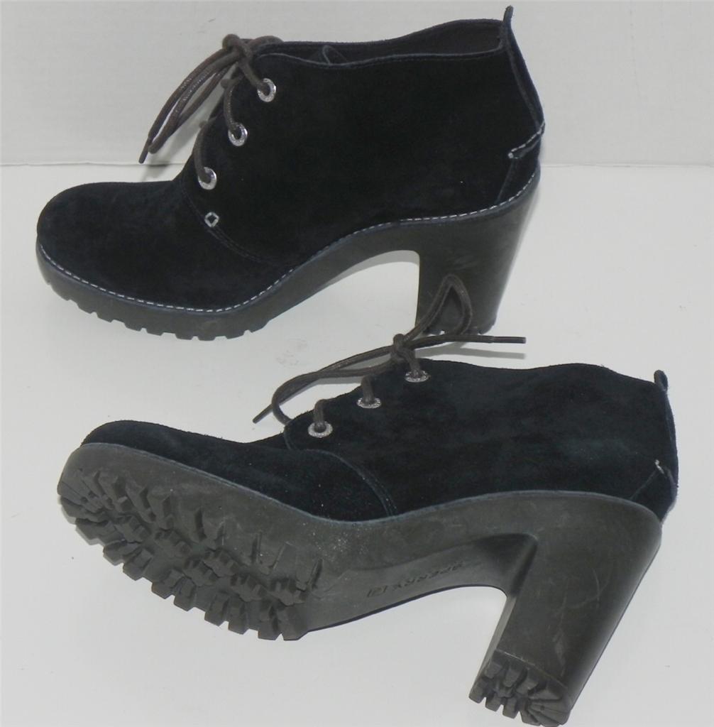 Sperry Top Sider Princeton Negro Gamuza botas al tobillo con Cordones 9.5