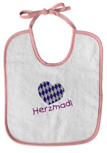 Lätzchen edle Stickerei Qualitäts Schlabberlätzchen Bayern HERZMADL 12415