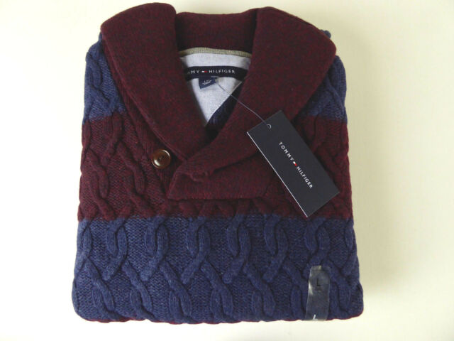 Tommy Hilfiger Shawl Collar Cable Knit Striped Sweater Burgundy And