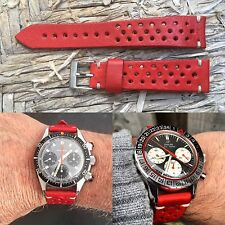 20 mm RED Leather Rallye Strap  bracelet cinturino armband for vintage watch
