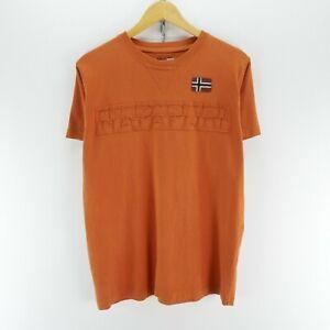 Napapijri-Men-039-s-T-Shirt-in-Brick-Color-Size-M-Short-Sleeve-Big-Logo-Tee-EF5388