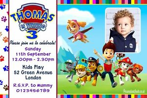 Image Is Loading Personalised Paw Patrol Birthday Party Invitations 10 Invites