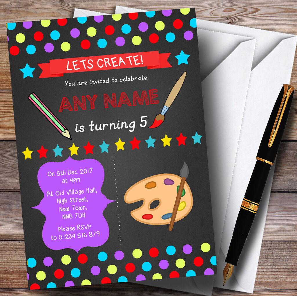 Chalk Polkadot Art Childrens Craft Birthday Party Invitations A41459