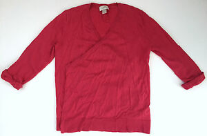 ANN-TAYLOR-LOFT-Womens-Pink-Red-Cotton-Cardigan-Sweater-Top-Size-XS