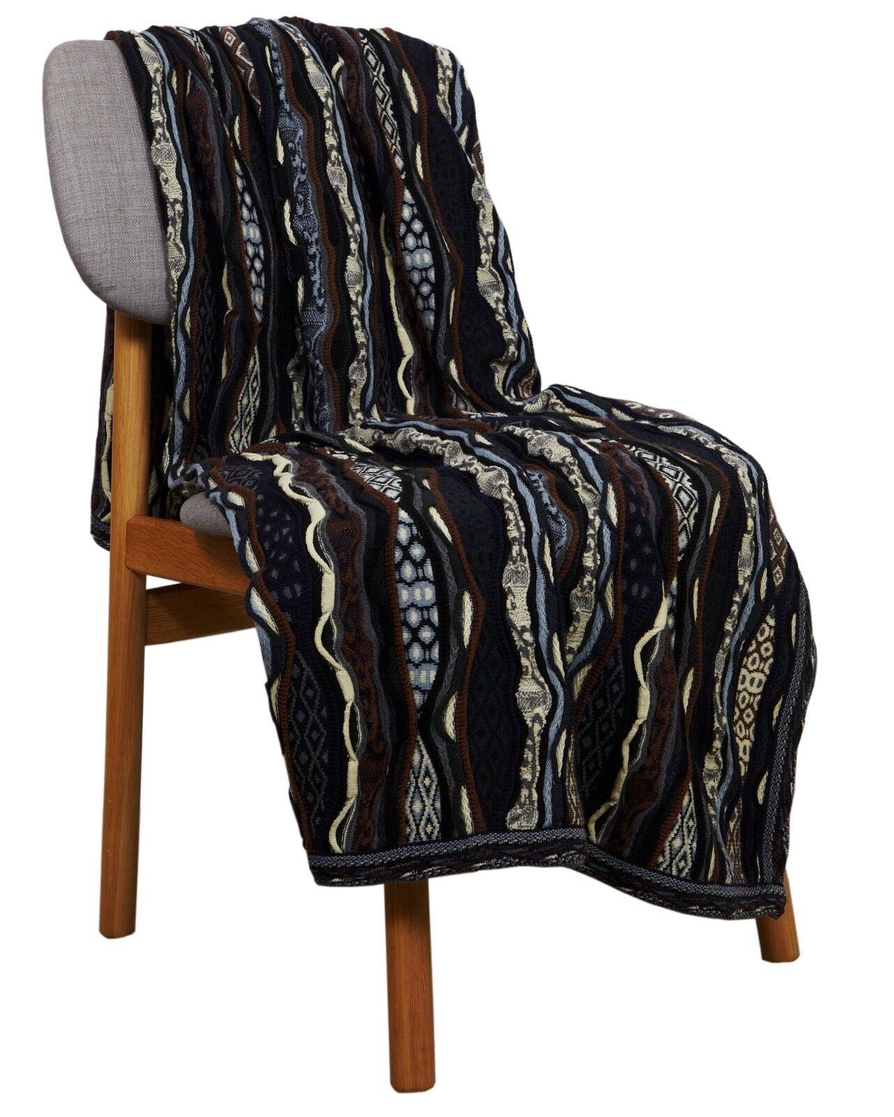 Geccu 3D Multi Colour Merino Wool Blanket Bed Throw, Knitwear Sweater Jumper