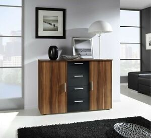 kommode sideboard wera nu baum rot schwarz matt ebay. Black Bedroom Furniture Sets. Home Design Ideas