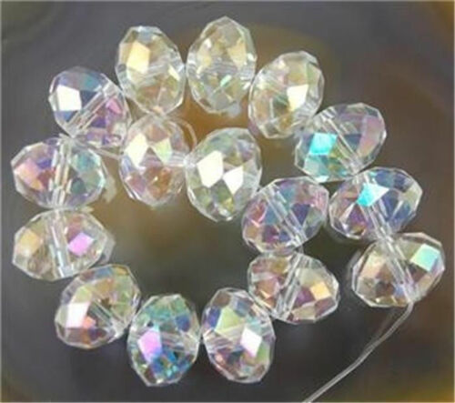 8x10mm 70PC AB Clear Multicolor Crystal Faceted Gems Loose Beads