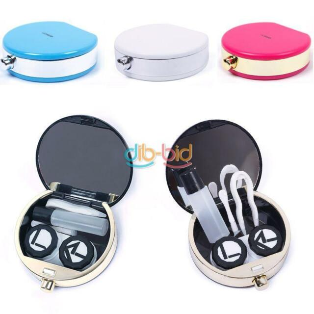 Travel Simple Perfume Bottle Contact Button Lens Case Box Container Holder White