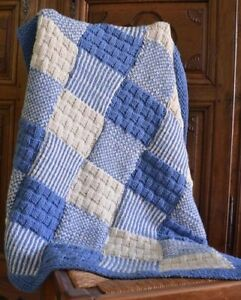 Chunky Wool Patchwork Blanket All In One Piece No Joining Knitting