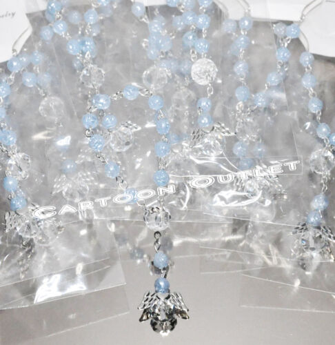 12 X FIRST COMMUNION ROSARY BAUTIZO ROSARIO RECUERDOS COMUNION ANGEL CHARM BLUE