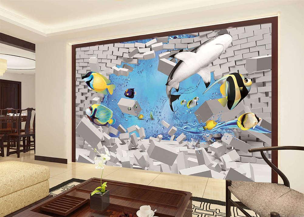 Break Through Barrier 3D Full Wall Mural Photo Wallpaper Print Home Kids Decor