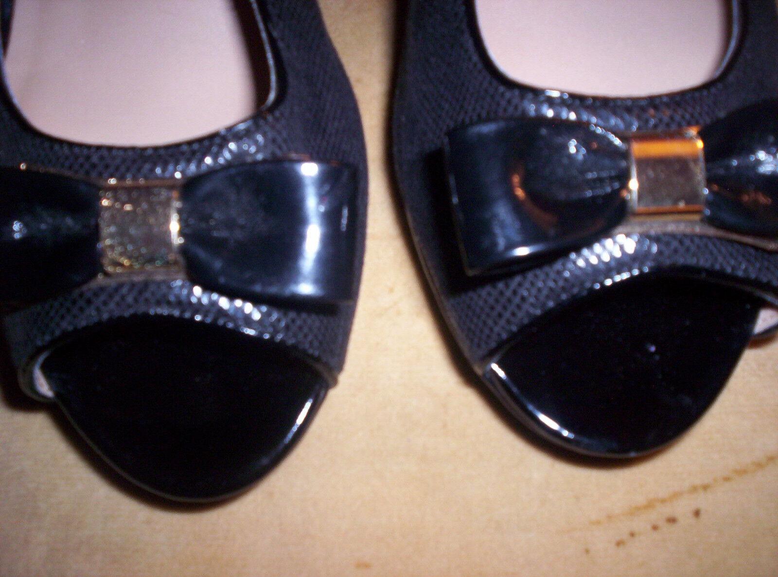 Karen Scott 11M Open Bonny Womens Shoes Black Open 11M Toe w Gold and Black Bow NWOB a33e6b