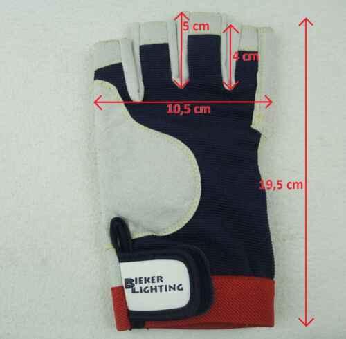 Rigger Gloves ohne Finger Handschuhe M 8x BluePort Segelhandschuhe AMARA Gr 8