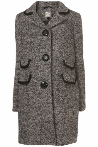 With Beautiful Topshop Wool Button New Coat Maternity Grey Jacket Black vqq06w