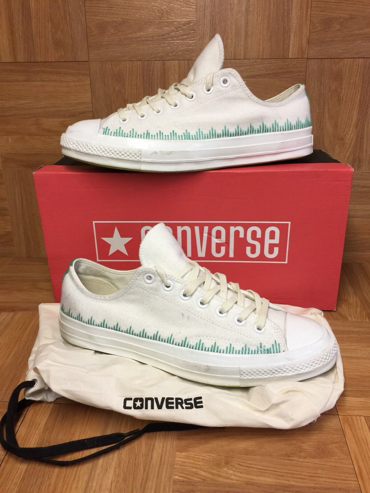 RARE Converse x Union Chuck Taylor All Star 70's OX White Green Fleece Sz 10.5