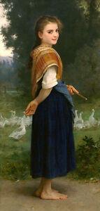 Kunst-Olgemaelde-bourguereau-Young-Beauty-Girl-Goose-Girl-Canvas-36-034