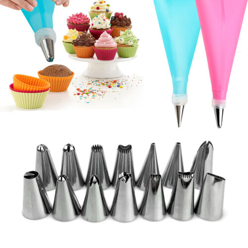 Silicone Icing Piping Cream Pastry Bag 12 Nozzle Set Cake Decorating Baking Tool
