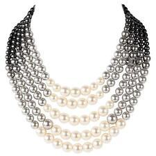 CHANEL CC logo Necklace Choker 2016 Pearl 5 Rows White Black gray Gradient NEW