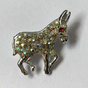 Vintage-Small-Donkey-Crystal-Pin-AB-Aurora-Borealis-Silver-Tone-Sparkly-Dainty