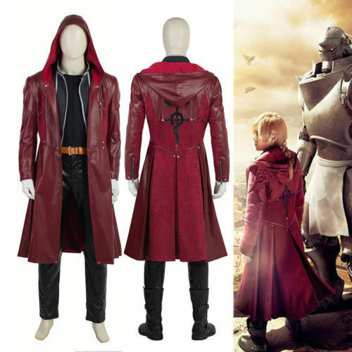 HZYM Fullmetal Alchemist Edward Elric/'s Cosplay Costume Leather Coat Trench Coa{