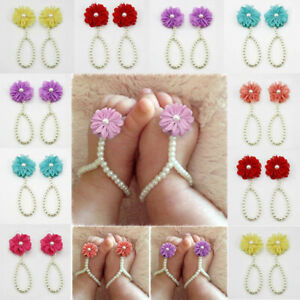 Summer Infant Kids Girl Baby Sole Crib Barefoot Ring Flower Pearl Shoes Sandals