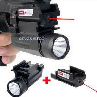 Cree Flashlight/torch+red Laser/sight For Pistol Gun Glock 19 20 21 22 23 30 31