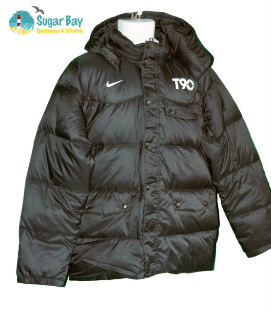 New NIKE Mens Total 90 T90 Football Bench Coat Puffa Jacket Black and Zest M