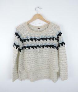 Women-039-s-Free-People-Cream-amp-Blue-Sweater-Size-XS