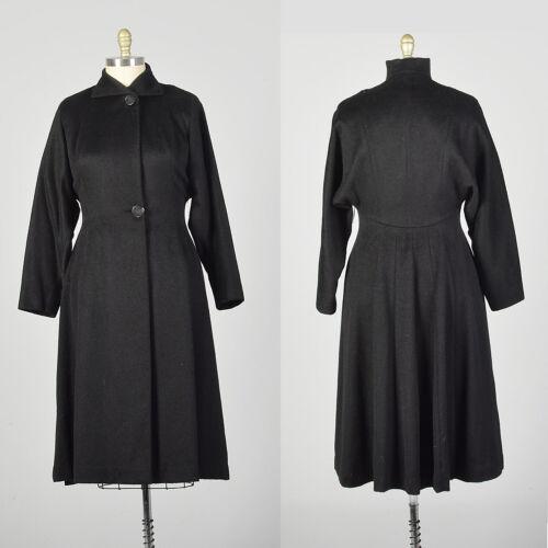 Large 1950s Princess Coat Black Wool Batwing Dolm… - image 1