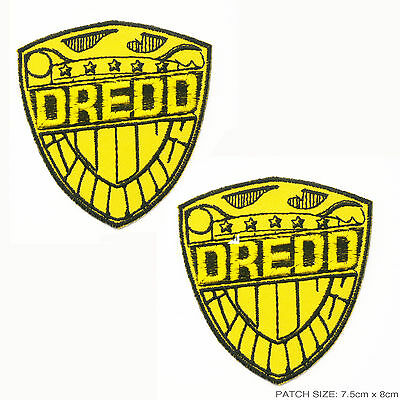 "Set of 2 x JUDGE DREDD Patches - ""Judge Dredd's Shield"" 2000AD Large Patch Lot"