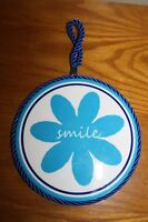 Glazed Ceramic Tile Groovy Blue Flower Smile Cork Back Hangs