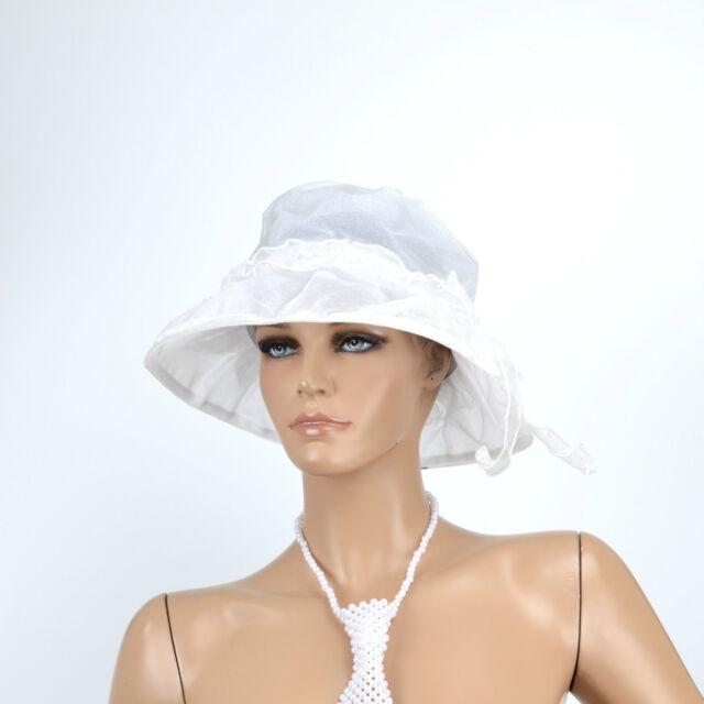 CHAPEAU CLOCHE Femme CAPELINE VINTAGE CEREMONIE MARIAGE COKTAIL BLANC ARLETTY