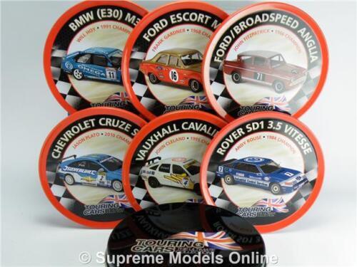 British Touring cars drink coasters Tin Set de 6 Anglia Rover Escort BMW Z0