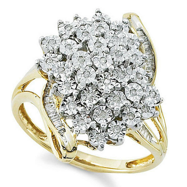 0.19Ct Brilliant Cut Diamond Tikali18k Yellow gold Over Cluster Engagement Ring