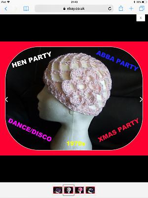 Fancy Dress Sparkly White MOP Crochet Hat Hen Party 70s Disco Queen Dancing