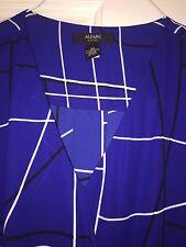 Alfani Petite Printed Surplice Blouse Elegant Lines Blue 2P