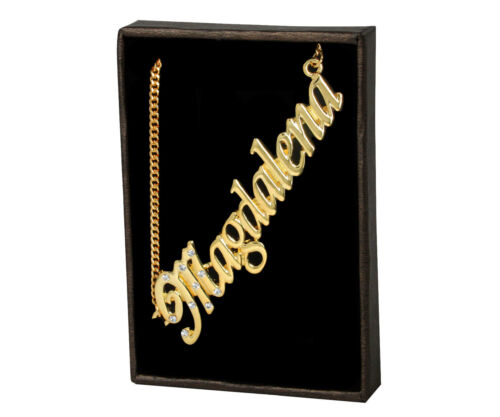 """Necklace With Name /""""Magdalena/"""" 18K Gold PlatedPersonalised Czech Rhinestones"""