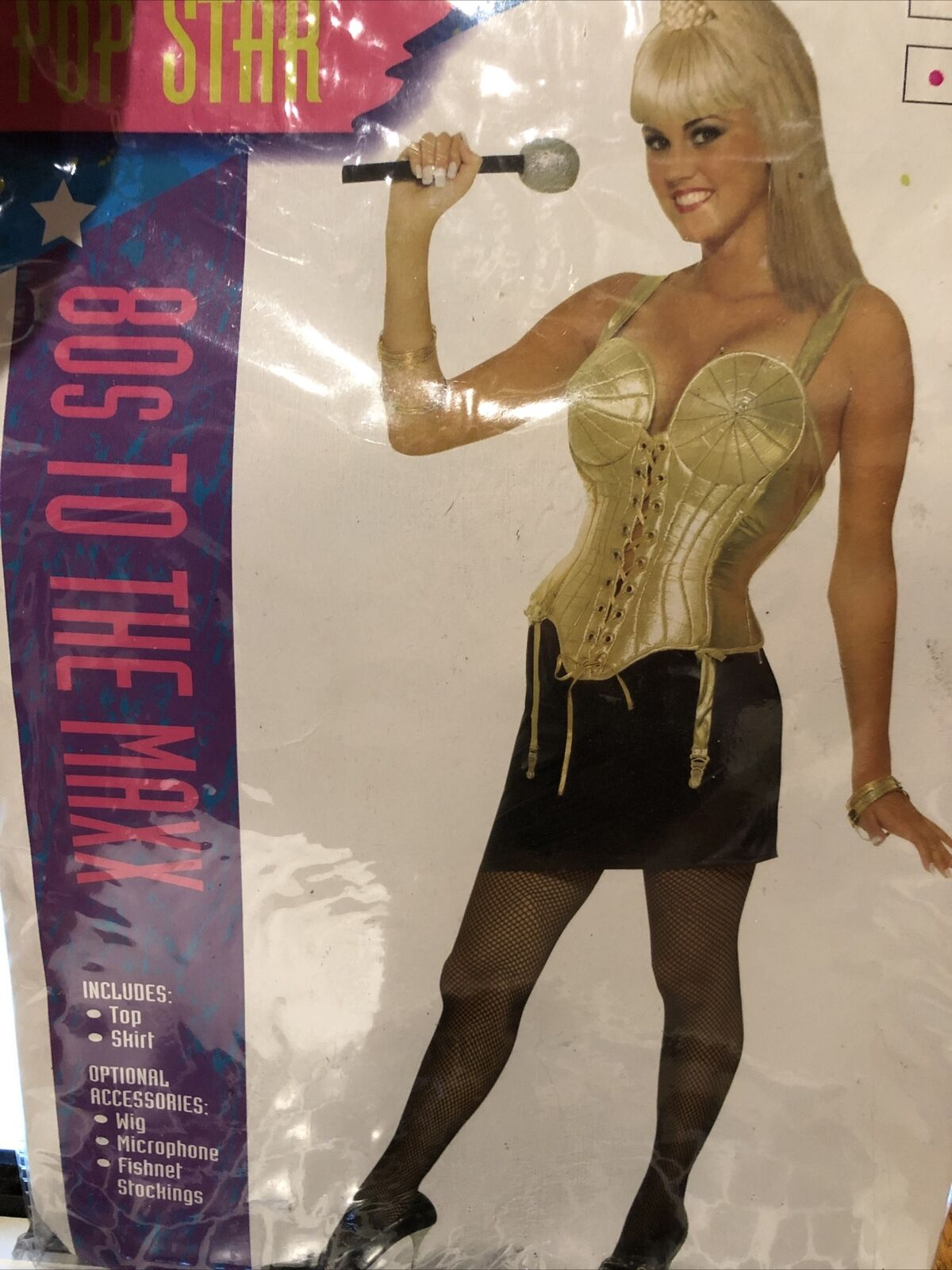 Womens Sexy Halloween Costume Pop Star 80s to the Max Madonna Bustier Skirt XS/S
