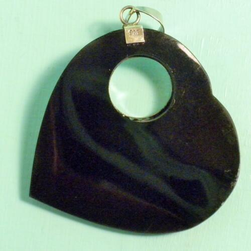 "1 1//2/""Abalone Shell Heart Shape Bali Design Handmade Pendant 925 Sterling Silver"