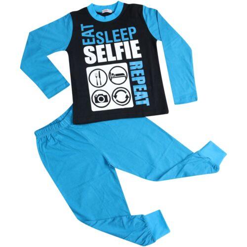 Kids Girls Boys Blue Eat Sleep Selfie Repeat Pajamas Lounge Wear PJS 2-13 Years