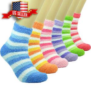 10 Pairs Women Soft Cozy Fuzzy Winter Warm Home Striped Slipper Socks Size 9-11