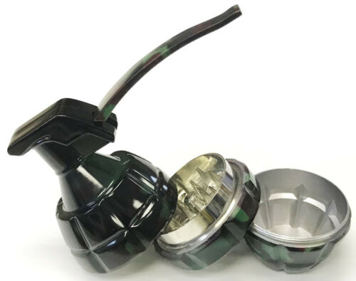 Eclipse Durable Metal 3-Part Camo Grenade Design Tobacco Herb Grinder W// Pin