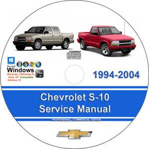 Chevrolet S 10 1994 2004 Factory Workshop Service Repair Manual On Cd Ebay