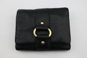 WILSONS LEATHER Black Pebbled Brass Gold Tone Hoop Studded Trifold Wallet